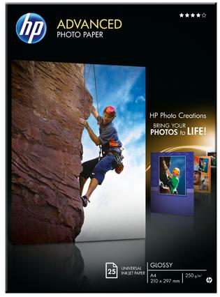 Descriere Hartie foto, A4, 250 g/mp, 25 coli/top, lucios, HP Advanced Inkjet