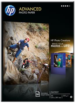 Descriere Hartie foto A4, 250 g/mp, 50 coli/top, lucios, HP Advanced Inkjet