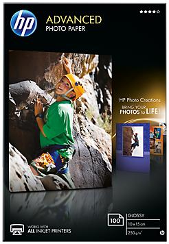 Descriere Hartie foto, 10 x 15cm, 250 g/mp, 100 coli/top, lucios, HP Advanced Inkjet