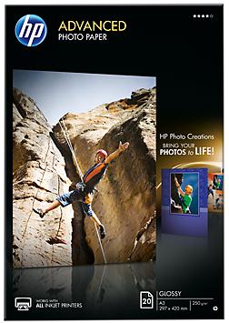 Descriere Hartie foto A3, 250 g/mp, 20 coli/top, lucios, HP Advanced Inkjet