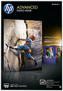 Descriere Hartie foto, 10 x 15cm, 250 g/mp, 60 coli/top, lucios, HP Advanced Inkjet