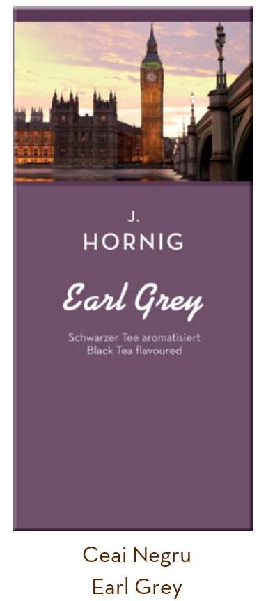 Descriere Ceai negru, 25 plicuri/cutie, J. HORNIG Earl Grey