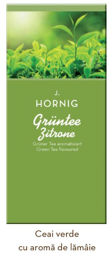 Descriere Ceai verde cu lamaie, 25 plicuri/cutie, J. HORNIG
