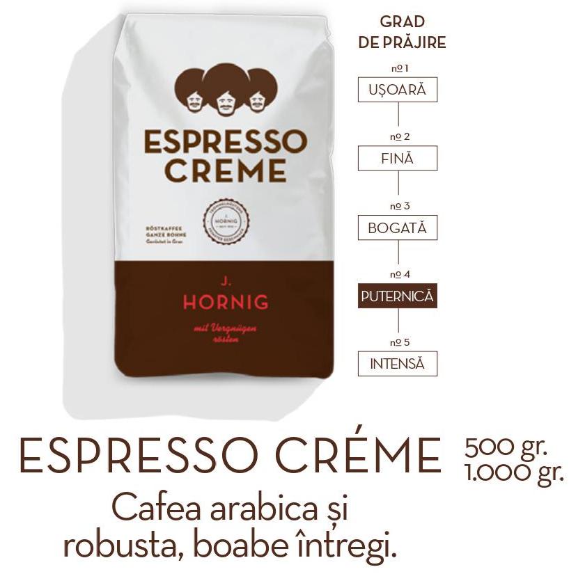 Descriere Cafea boabe, 1000gr, J. HORNIG Espresso Creme