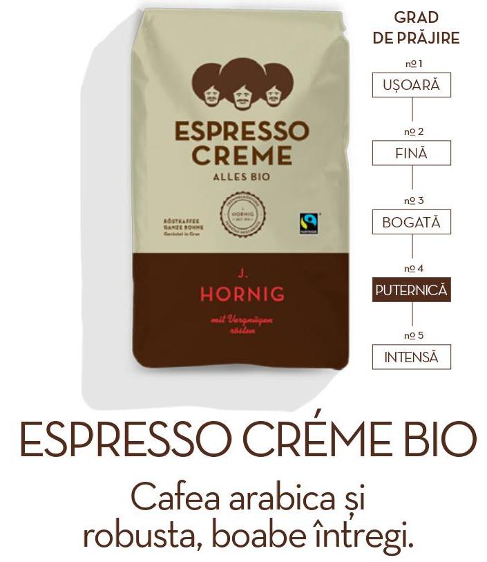 Descriere Cafea boabe, 1000gr, J. HORNIG Espresso Creme Bio