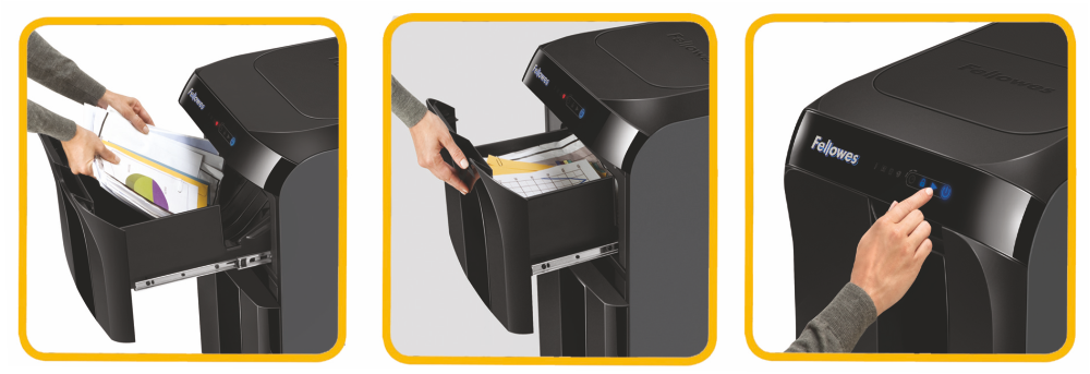 Descriere Distrugator de documente, maxim 500 coli, cross cut (confeti), FELLOWES AutoMax 500C