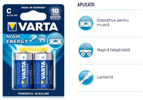 Descriere Baterii alcaline C/R14, 2 buc/blister, VARTA High Energy