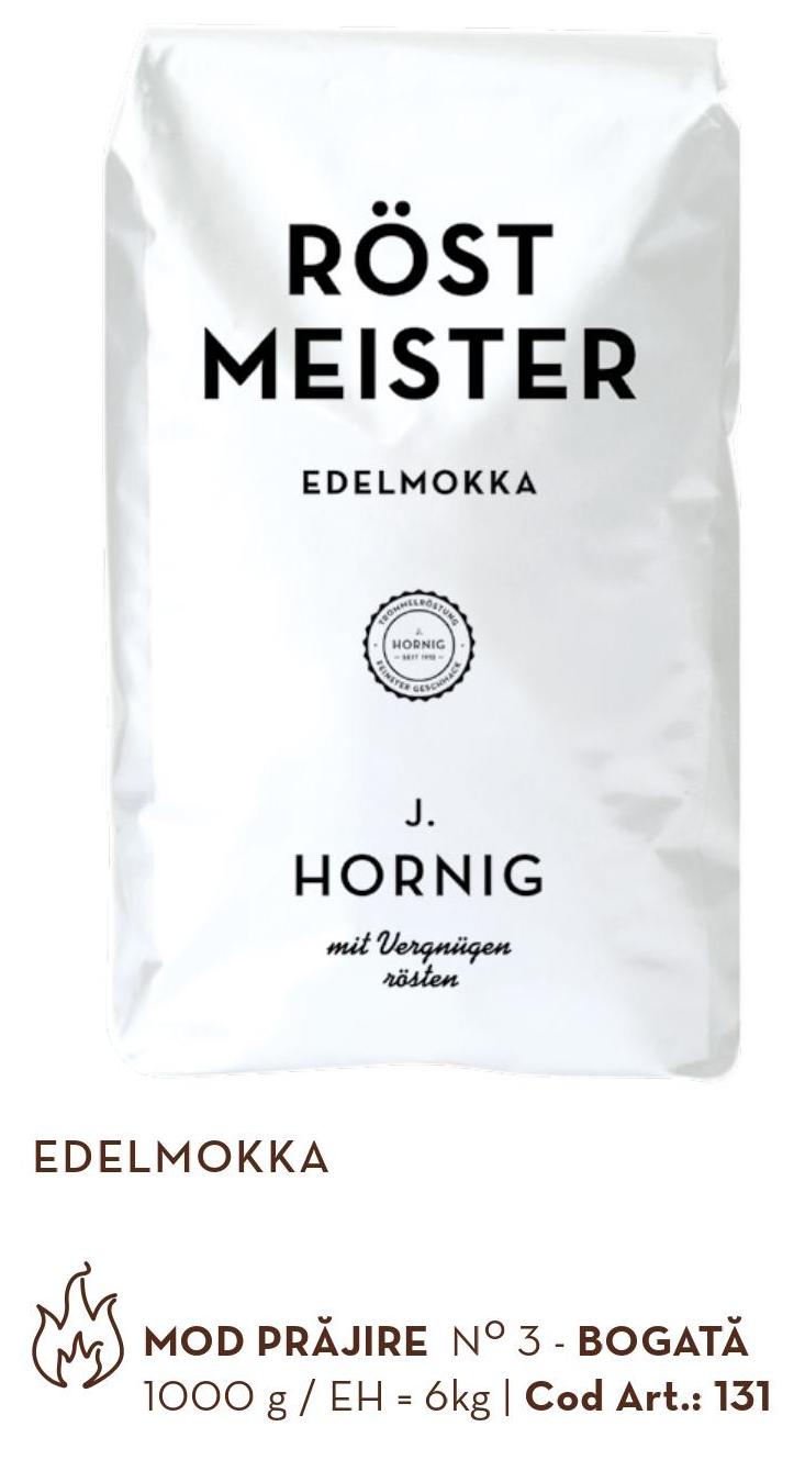 Descriere Cafea boabe, 1000gr, J. HORNIG Röstmeister Edelmokka