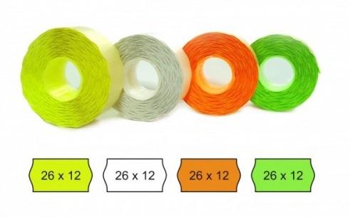 Descriere Etichete autoadezive pt. marcatoare, 26 x 12mm, 1500 etichete/rola, verde fluorescent, PRIX