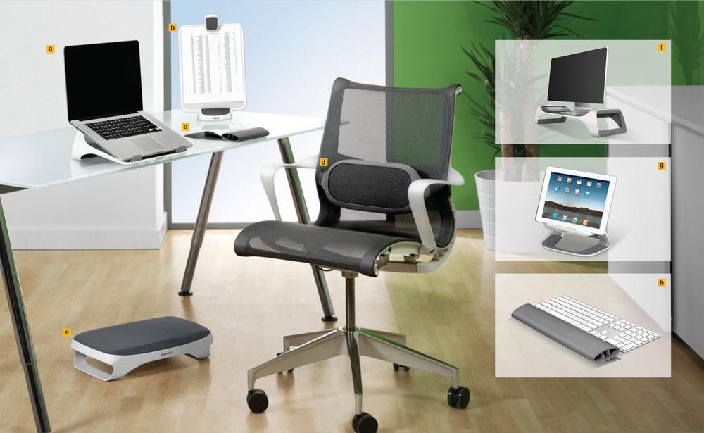 Descriere Suport ergonomic pentru picioare, alb, FELLOWES I-Spire