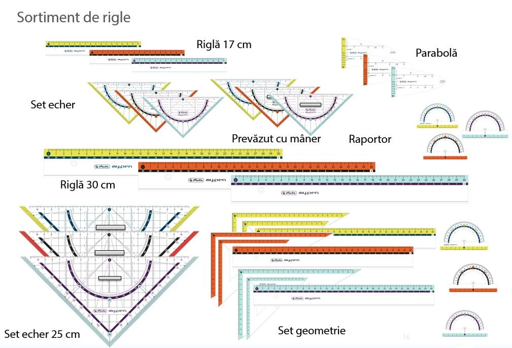 Descriere Echer, 45° si raportor 25cm, diferite culori, HERLITZ my.pen