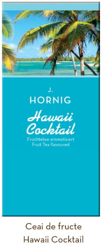 Descriere Ceai de fructe, 25 plicuri/cutie, J. HORNIG Hawaii cocktail