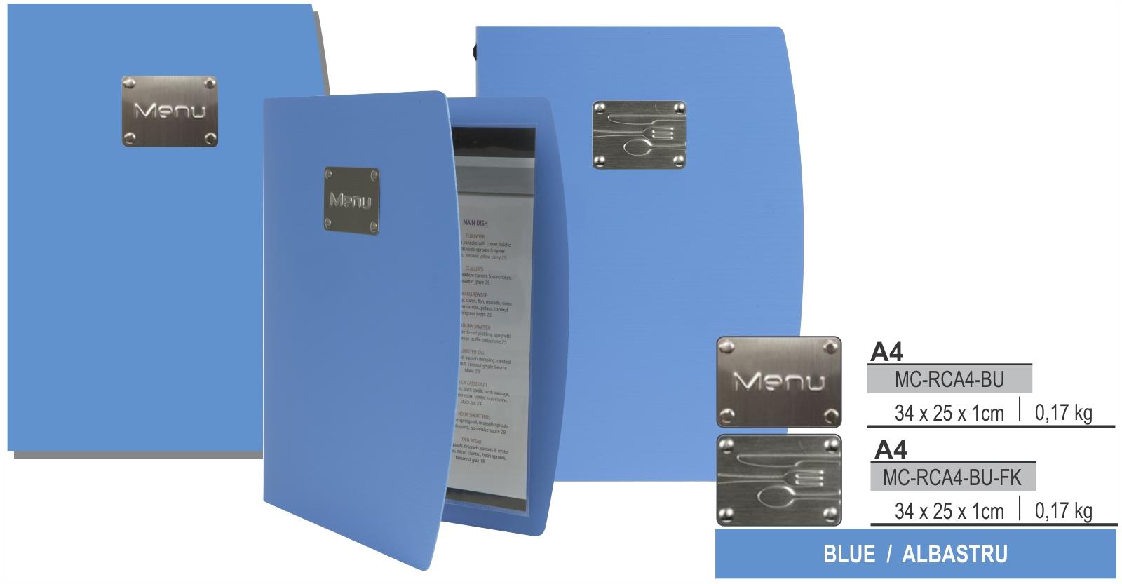 Descriere Coperta meniu, A4, albastru, SECURIT Rio Collection