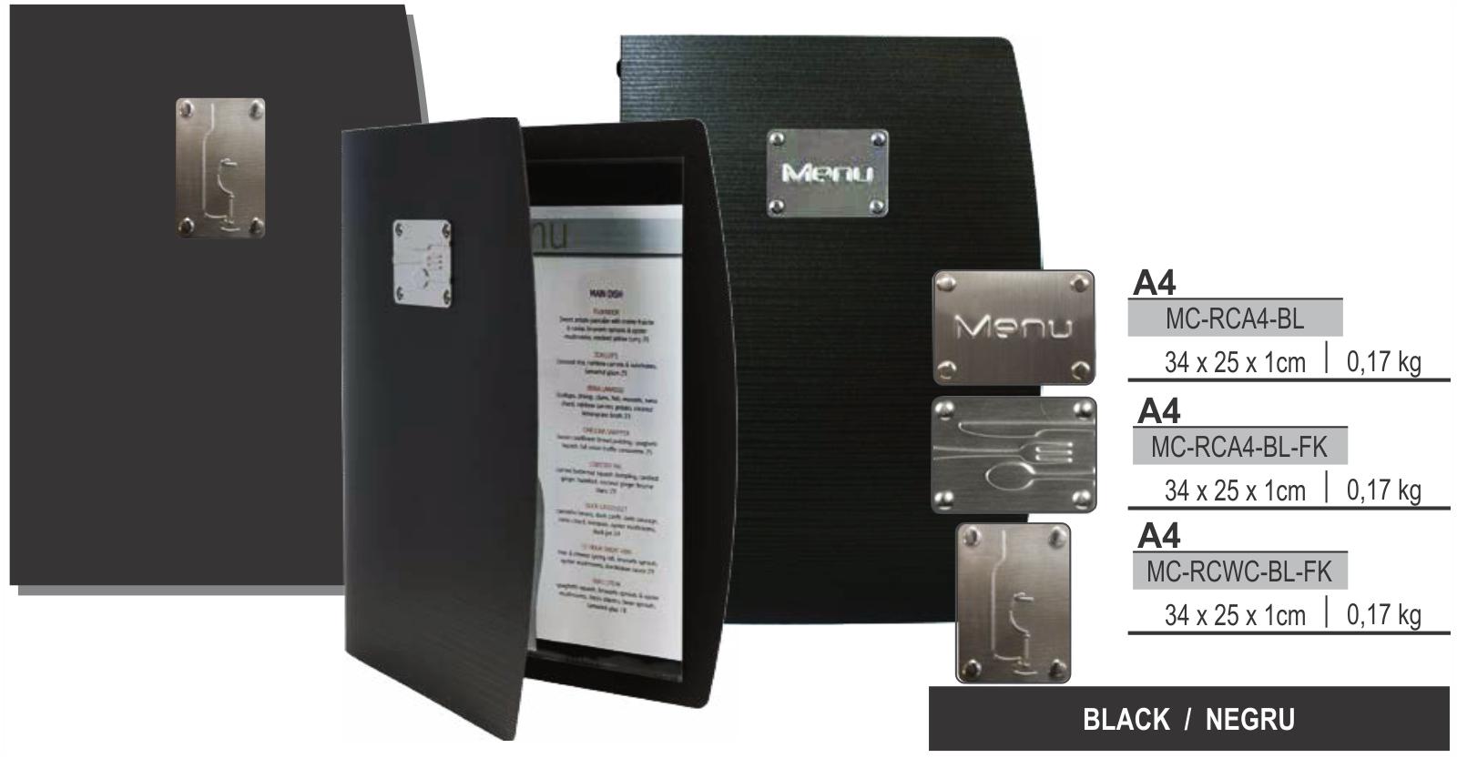 Descriere Coperta meniu, A4, negru, SECURIT Rio Collection