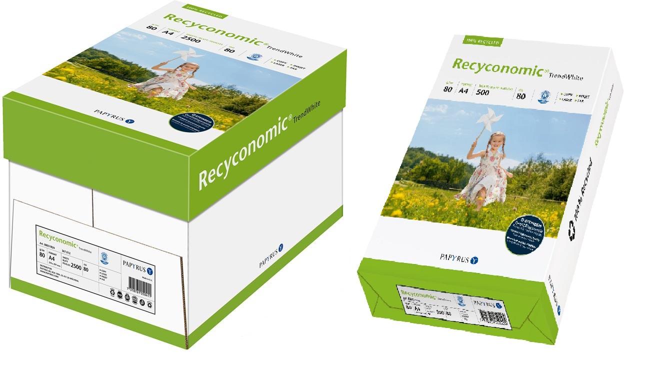 Descriere Hartie reciclata A4, 80 g/mp, 500 coli/top, PAPYRUS Recyconomic