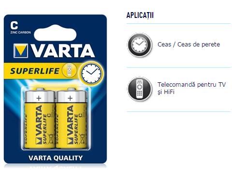 Descriere Baterii C, zinc-carbon, 2 bucati, VARTA Super Life