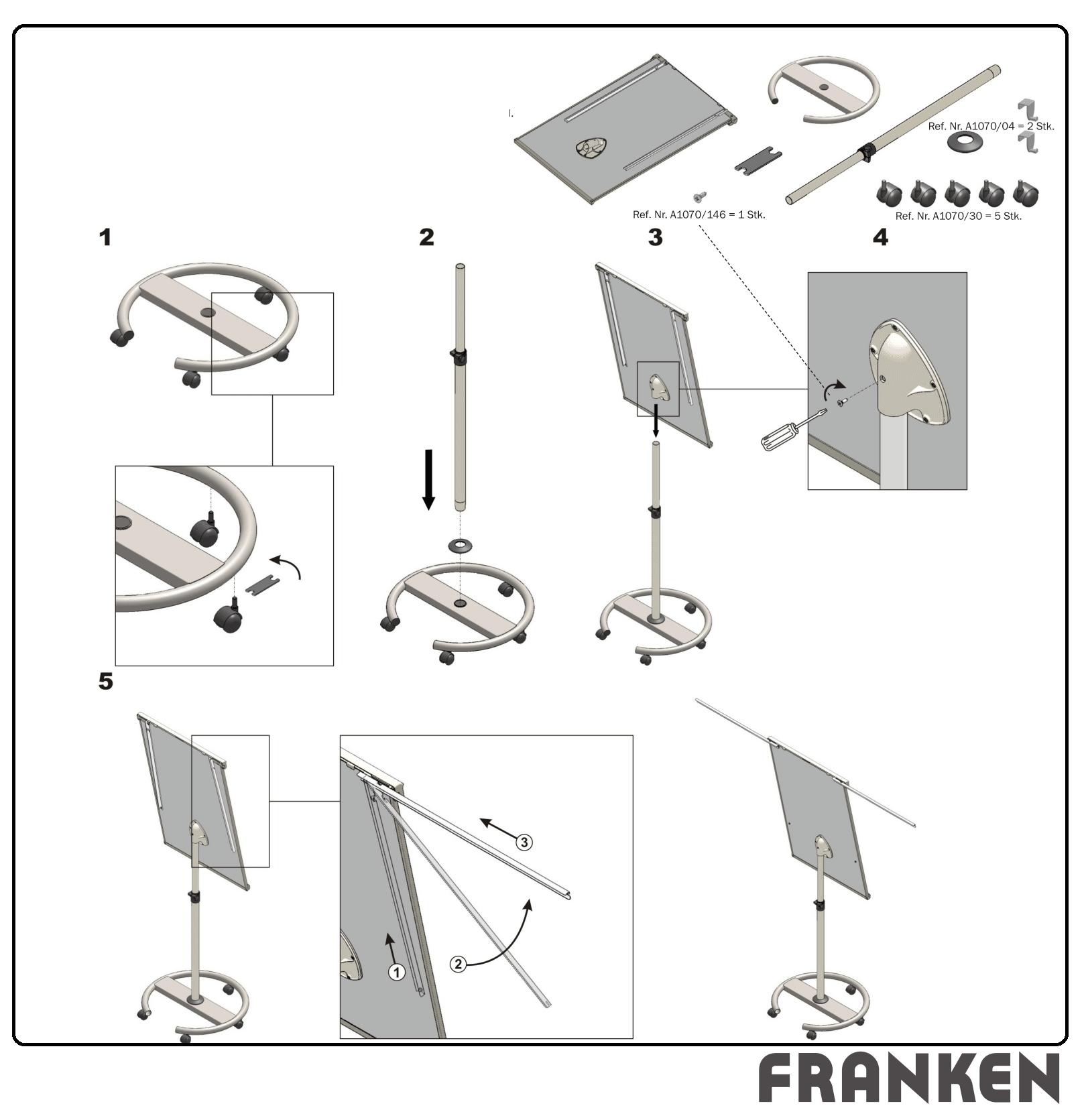 Descriere Flipchart magnetic, mobil, cu brate extensibile, 68 x 105cm, FRANKEN ECOSerie Mobil