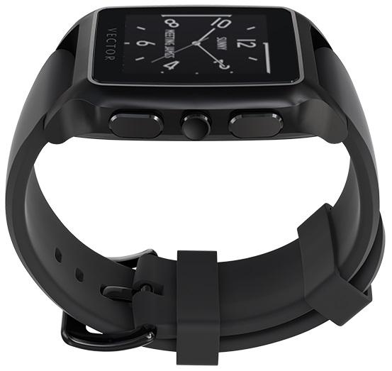 Descriere SmartWatch VECTOR Watch Meridian, negru mat, curea neagra din silicon
