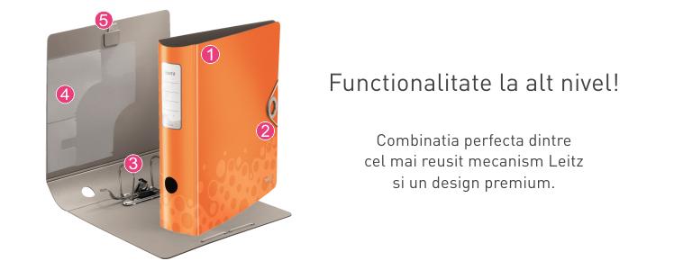 Descriere Biblioraft, 5.0cm, portocaliu, LEITZ 180° Active Bebop
