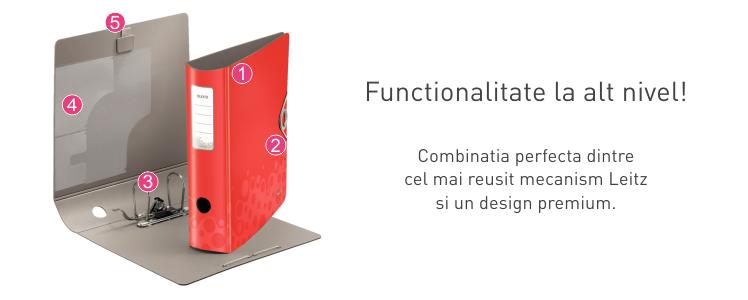 Descriere Biblioraft, 5.0cm, rosu, LEITZ 180° Active Bebop