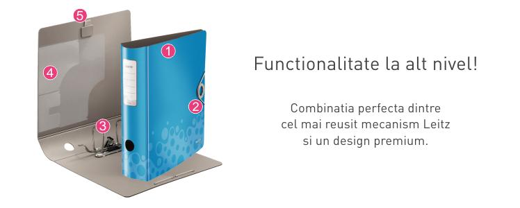 Descriere Biblioraft, 7.5cm, albastru, LEITZ 180° Active Bebop