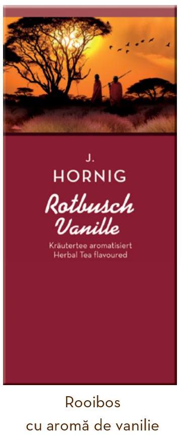 Descriere Ceai Roiboos cu vanilie, 25 plicuri/cutie, J. HORNIG