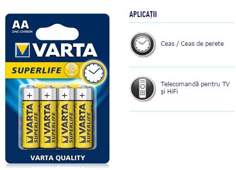 Descriere Baterii AA, zinc-carbon, 4 bucati, VARTA Super Life