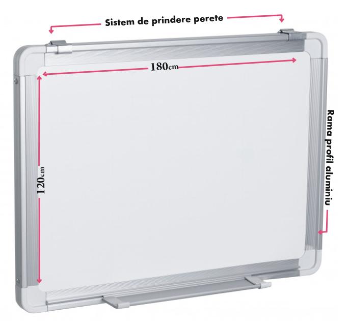 Descriere Tabla magnetica - whiteboard, rama din aluminiu, 180 x 120cm, SMART