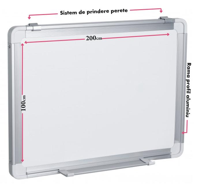 Descriere Tabla magnetica - whiteboard, rama din aluminiu, 200 x 100cm, SMART