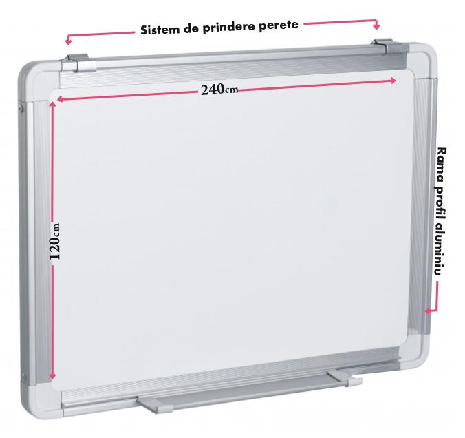Descriere Tabla magnetica - whiteboard, rama din aluminiu, 240 x 120cm, SMART