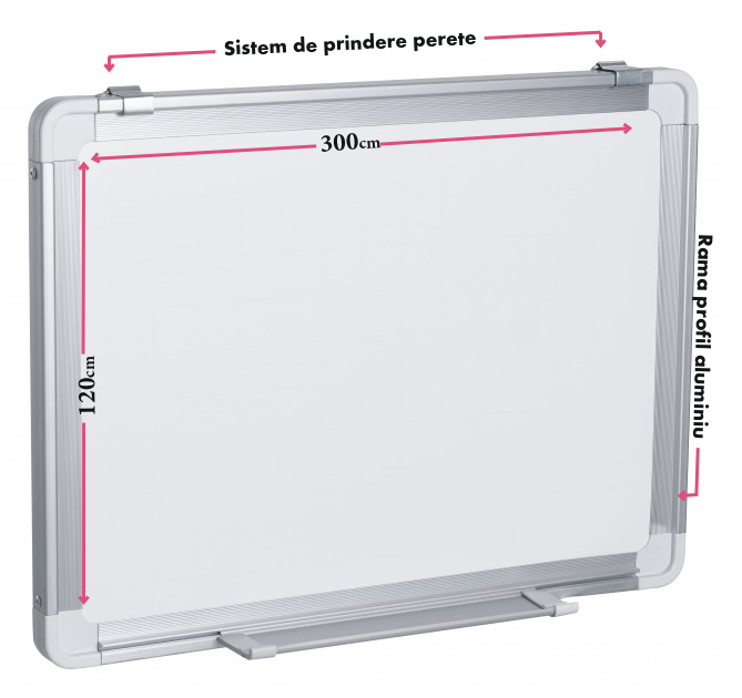 Descriere Tabla magnetica - whiteboard, rama din aluminiu, 300 x 120cm, SMART