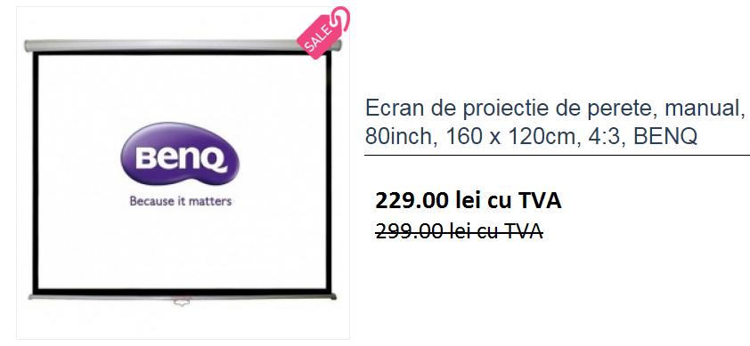 Descriere Videoproiector FULL HD 3D, BENQ W1350 + CADOU Ecran de proiectie, 160 x 120cm