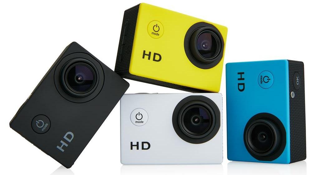 Descriere Camera video sport XINDAO, 11 accesorii, galben