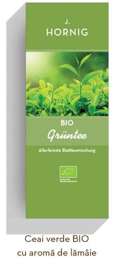 Descriere Ceai verde BIO, 25 plicuri triunghiulare, J. HORNIG