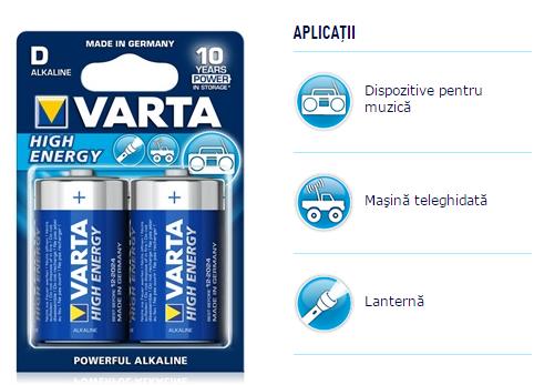 Descriere Baterii alcaline D/R20, 2 buc/blister, VARTA High Energy