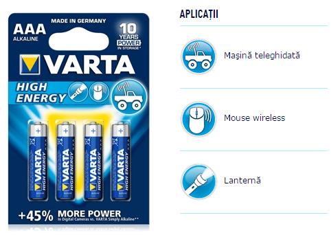 Descriere Baterii alcaline AAA/R3, 4 buc/blister, VARTA High Energy