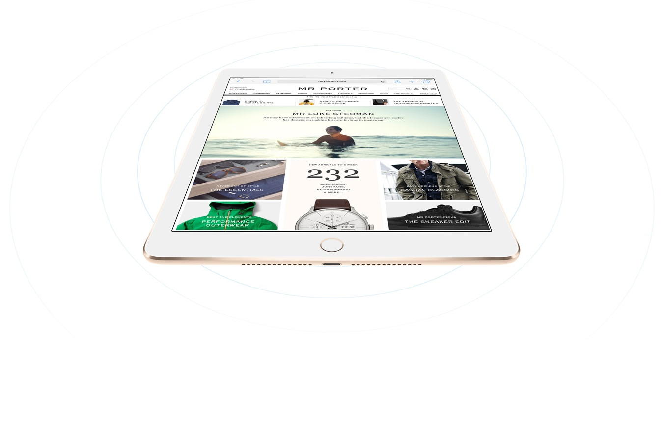 "Descriere APPLE iPad Air 2 16GB Wi-Fi + 4G Ecran Retina 9.7"", A8X, Silver"